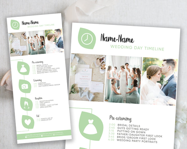 Wedding Timeline Template - Green Leaf