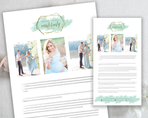 Maternity Client Prep Guide Template - Gold + Mint Watercolor