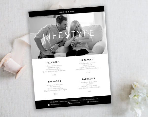 Black & White Studio Template for Photographers. Lifestyle Package Price List. Instant Download