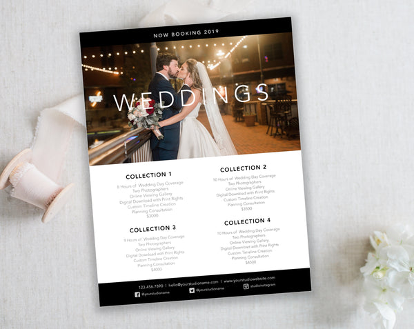 Black & White Wedding Template for Photographers. Wedding Collection Price List. Instant Download