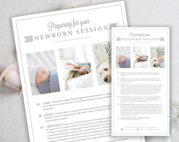 Newborn Client Prep Guide Template - Gray Tabs