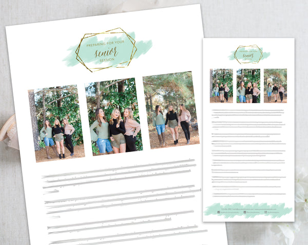 Senior Client Prep Guide Template - Gold + Mint Watercolor