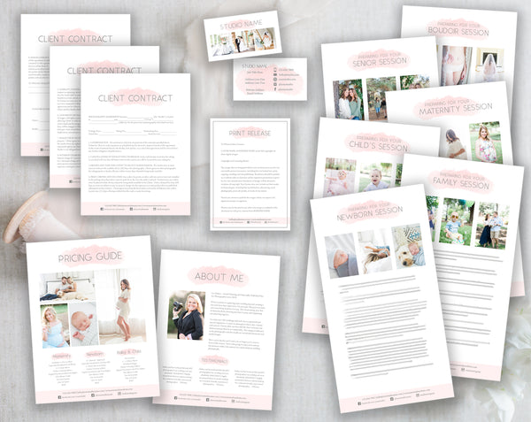 Photography Business Template Bundle - Pink Watercolor