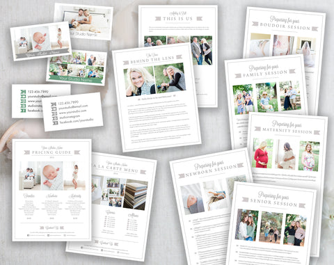 Photography Template Bundle, Prep Guide, Business Cards, Pricing Sheet & Bio Templates