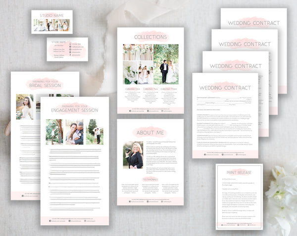 Wedding Photographer Business Template Bundle - Pink Watercolor