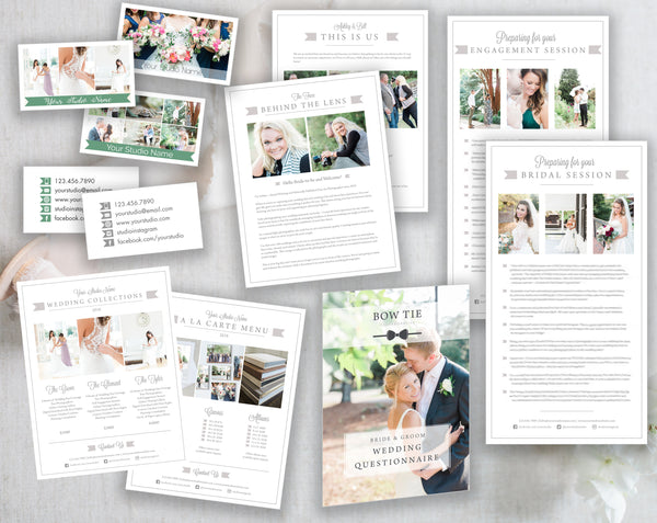 Wedding Photography Template Bundle, Prep Guide, Business Cards, Pricing Sheet & Bio Templates