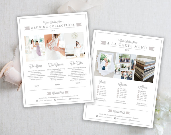 Price List Templates - Wedding - Gray Tabs