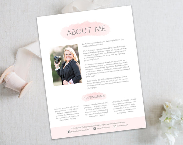 About US - Resume Bio Template, Testimonials Template - Pink Watercolor