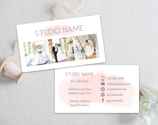 Photography Business Card Template - Pink Watercolor
