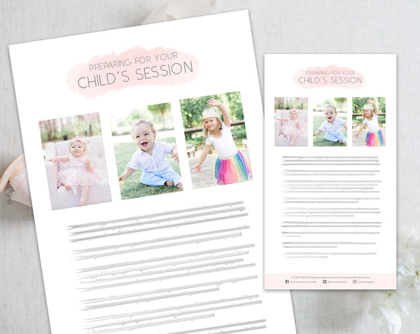Child's Client Prep Guide Template - Pink Watercolor