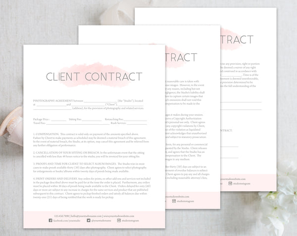 Photography Client Contract Forms - Pink Watercolor