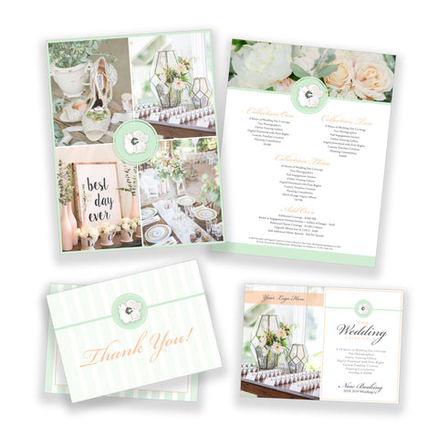 Floral Wedding Bundle Customizable Photoshop Template