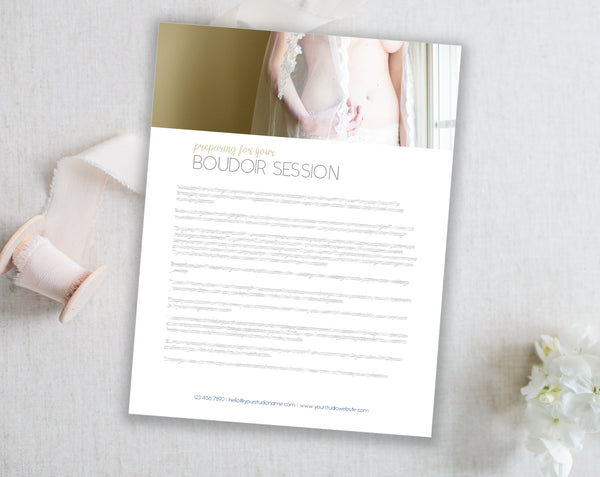 Boudoir Client Prep Guide Template  - Navy Diamond
