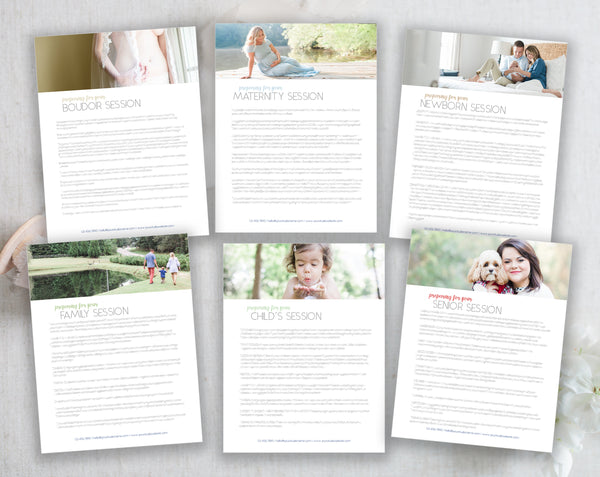 Modern Client Preparation Guides - 6 pack, Boudoir, Maternity, Newborn, Child's, Family and Senior