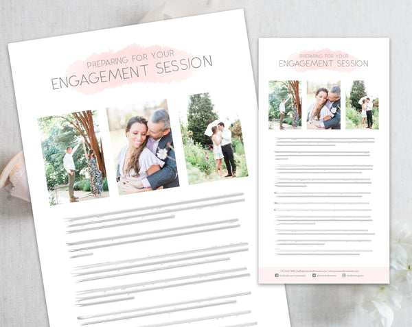 Engagement Client Prep Guide Template - Pink Watercolor