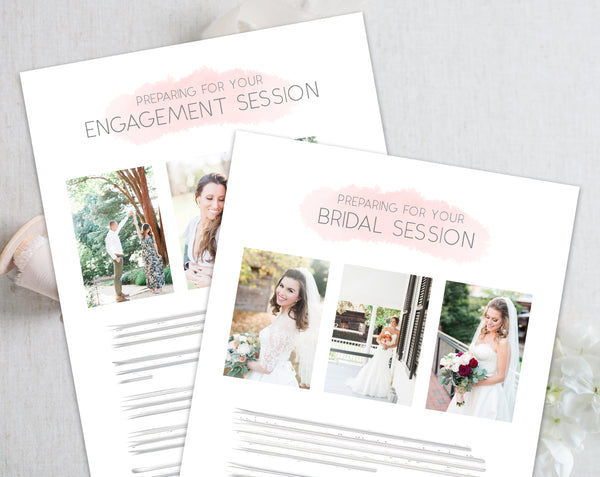 Bridal & Engagement Client Prep Guide Templates - Pink Watercolor