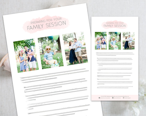 Family Client Prep Guide Template - Pink Watercolor