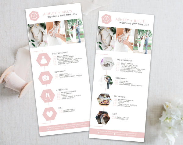 Wedding Timeline Template - Pink Hexagon