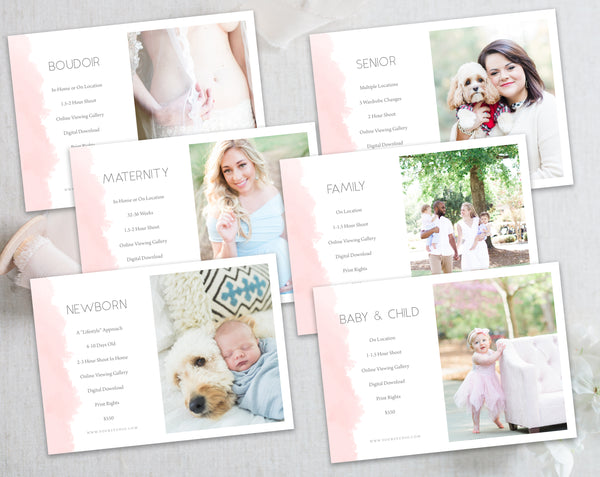 Photography Portrait Session Templates - 6 pack - Pink Watercolor