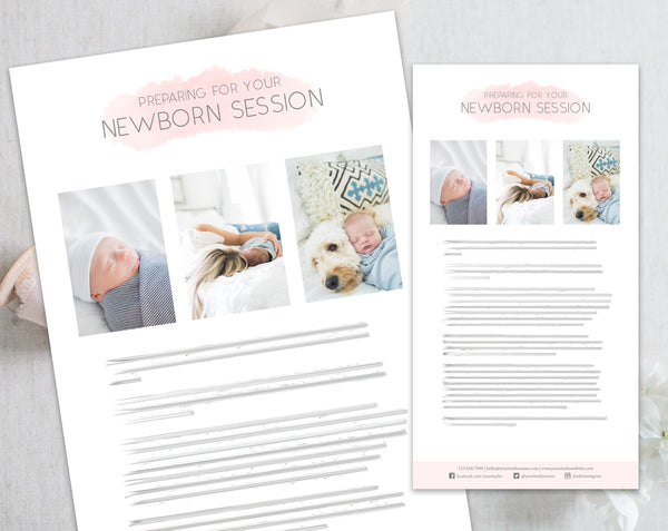 Newborn Client Prep Guide Template - Pink Watercolor