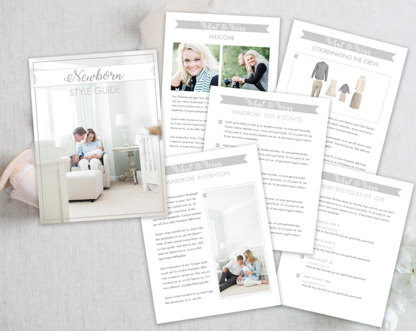 Newborn Style Guide Template - Gray Tabs
