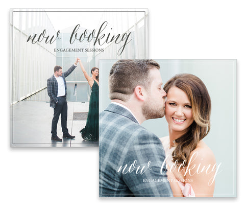 Now Booking Engagement Sessions. Photoshop Overlay. Instant Download