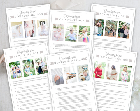 Photography Client Prep Guide Template Bundle - 6 Pack