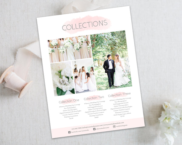 Wedding Collections Price List - Pink Watercolor