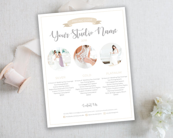 Pricing Template for Photographers. Wedding Collection Pricing List - Instant Download