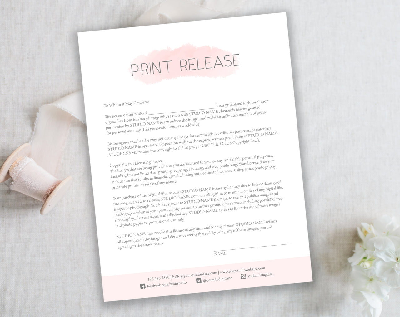 Photography Print Release Form - Pink Watercolor