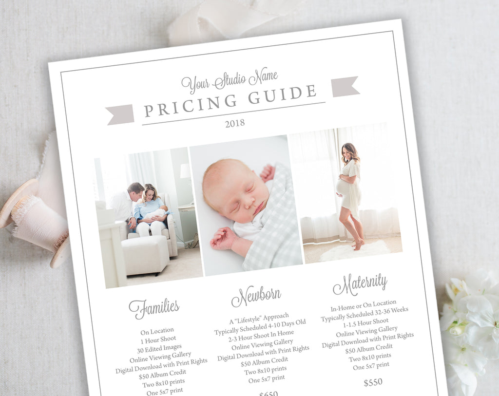 Photography Pricing Template, Instant Download – Shop Bow
