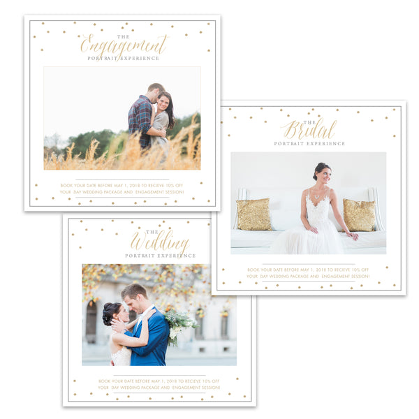 3 Marketing Templates (Engagement, Bridal, Wedding) - Gold Confetti