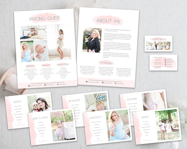 Studio Marketing Template Bundle - Pink Watercolor