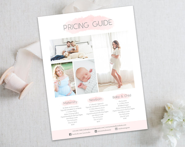 Price List - Photography - Pink Watercolor