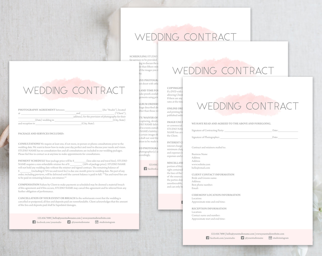 Wedding Contract - Pink Watercolor