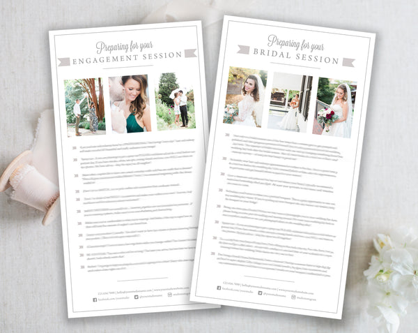 Bridal & Engagement Client Prep Guide Templates - Gray Tabs