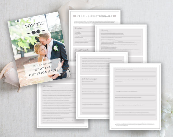 Bride & Groom Wedding Questionnaire Photoshop Templates