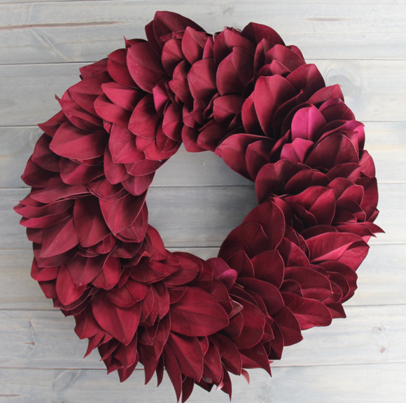 Wreath Magnolia Burgundy Round