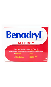 Benadryl 25mg, 12 Caplets - Green Valley Pharmacy Ottawa Canada