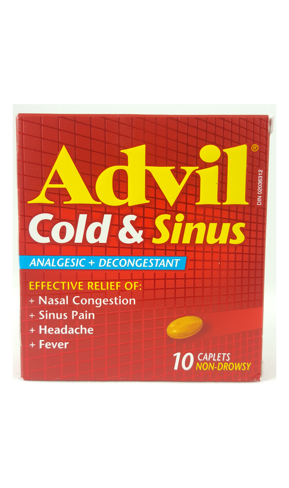 Advil Cold & Sinus, 10 Caplets - Green Valley Pharmacy Ottawa Canada