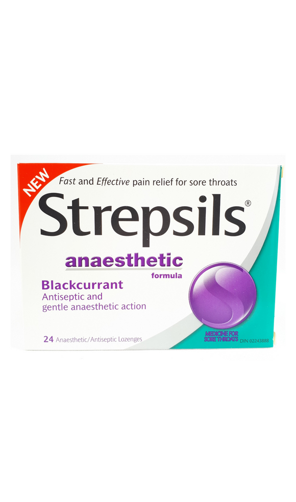 Strepsils Blackcurrant, 24 Anaesthetic Lozenges - Green Valley Pharmacy Ottawa Canada