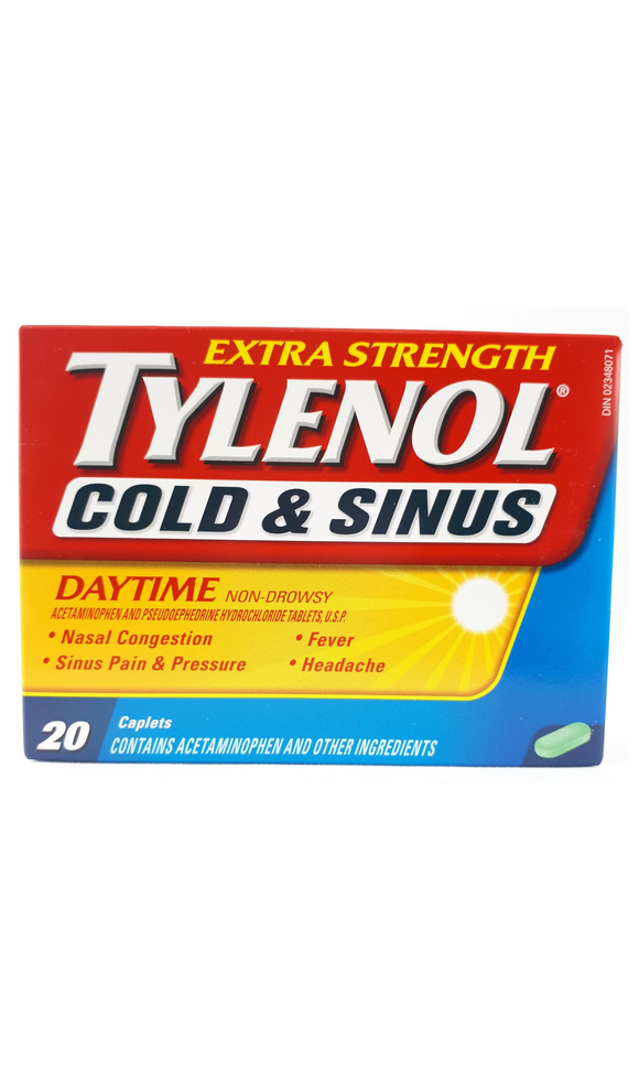 Tylenol Cold & Sinus Extra Strength, 20 Daytime Caplets - Green Valley Pharmacy Ottawa Canada