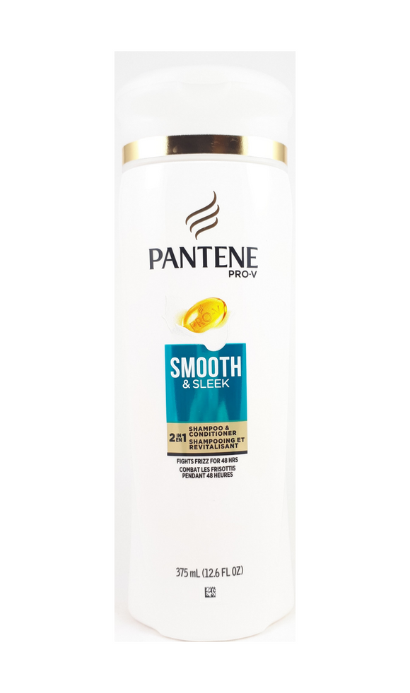 Pantene Pro-V, 375 mL Smooth and Sleek 2 in 1 Shampoo and Conditioner - Green Valley Pharmacy Ottawa Canada