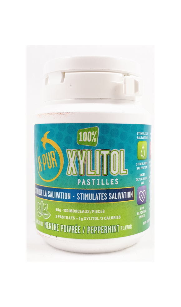 X-PUR Xylitol, 130 Peppermint Pastilles - Mobile Pharmacy Ottawa Canada