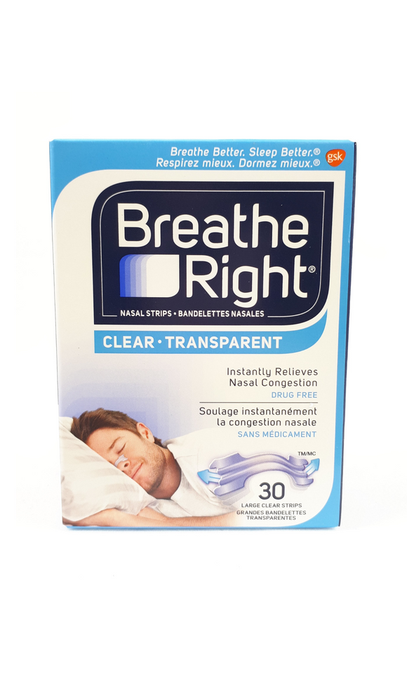 Breathe Right Large, 30 Clear Nasal Strips - Green Valley Pharmacy Ottawa Canada