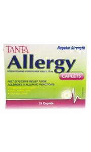 Tanta Allergy Relief 25mg, 24 caplets - Green Valley Pharmacy Ottawa Canada
