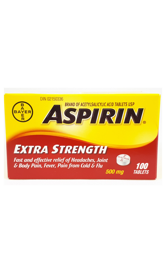 Aspirin Extra Strength, 500mg, 100 tablets - Green Valley Pharmacy Ottawa Canada
