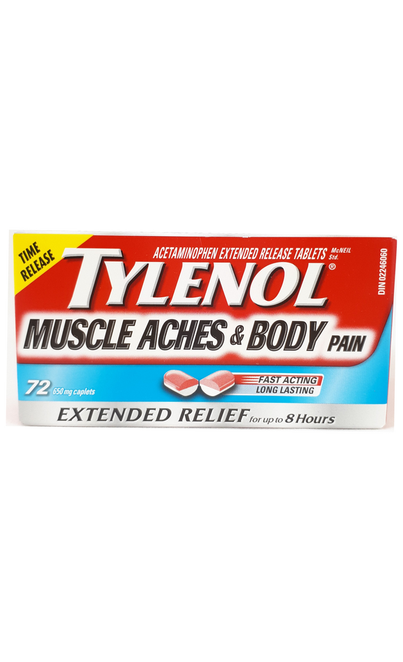 Tylenol Muscle Aches & Body Pain, 72 caplets - Green Valley Pharmacy Ottawa Canada