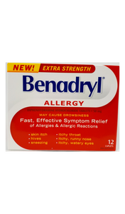 Benadryl X-Strength Allergy, 50mg, 12 caplets - Green Valley Pharmacy Ottawa Canada