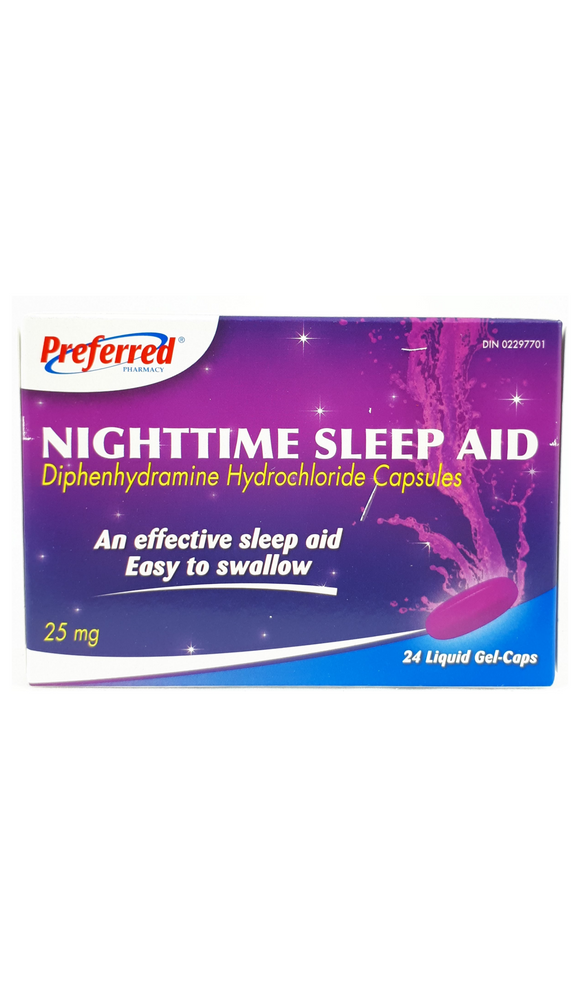 Preferred Nighttime sleep aid, 25mg, 24 liquid gel caps - Mobile Pharmacy Ottawa Canada